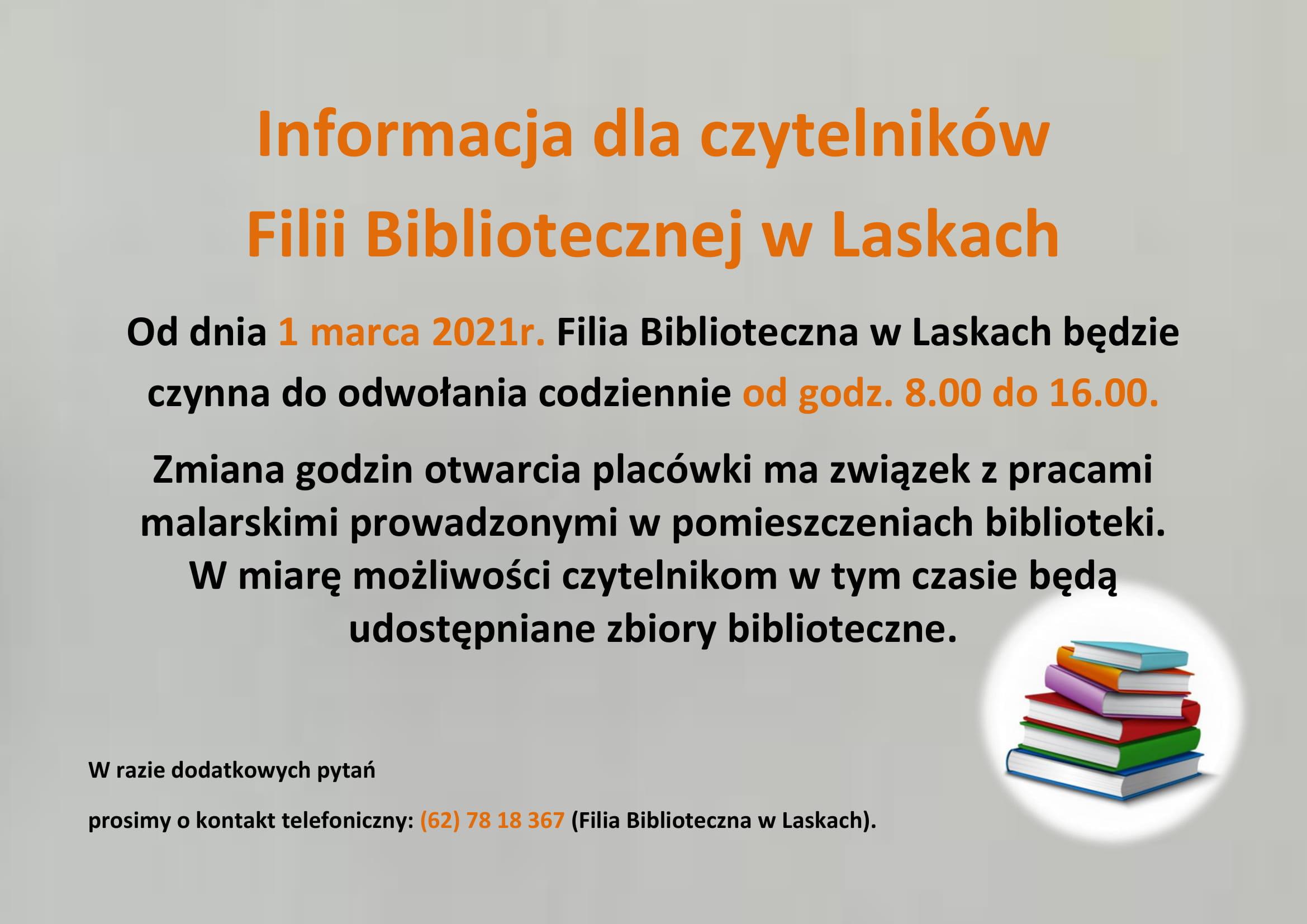 Informacja dla czytelników Filii Bibliotecznej w Laskach-1