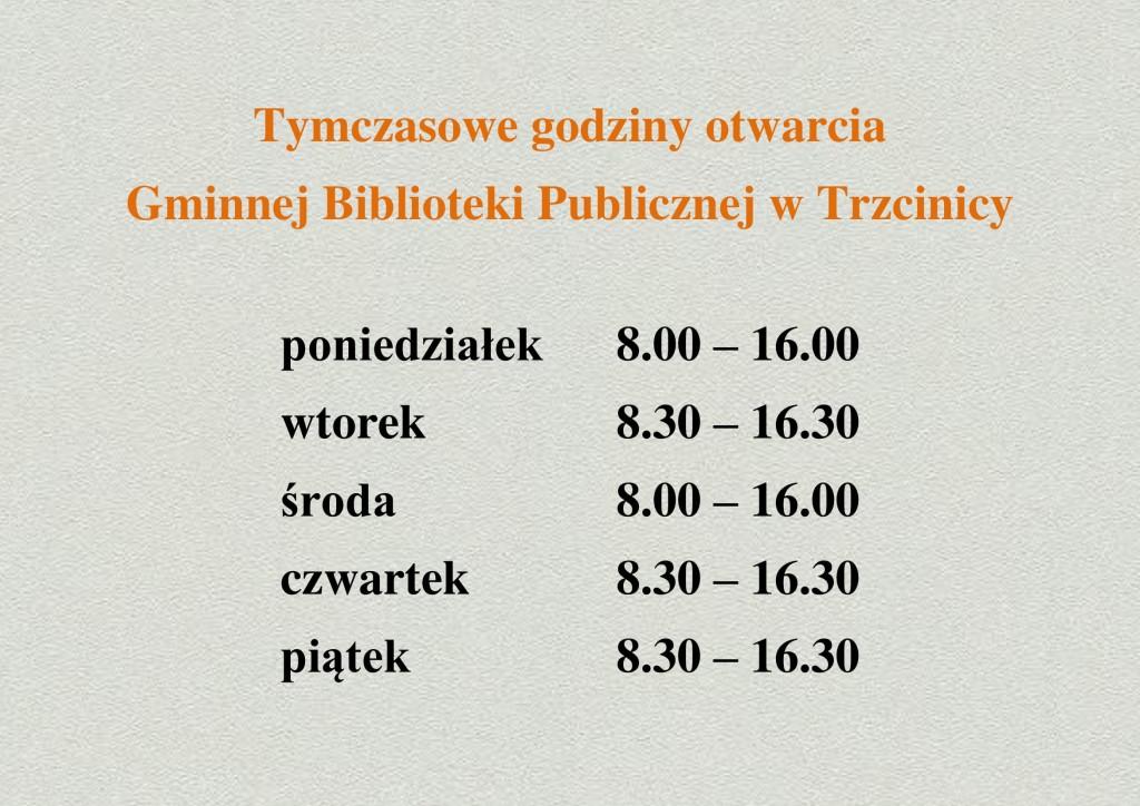 Tymczasowe godziny otwarcia biblioteki-1